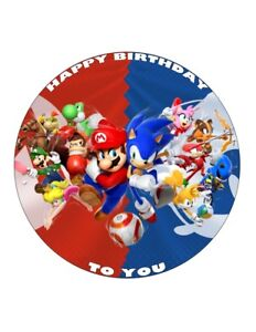 """7.5"""" 19cm MARIO & SONIC PERSONALISED WAFER/FONDANT PAPER CAKE TOPPER"""