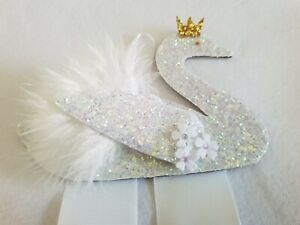 Sparkly Swan bow holder   hair clip storage  hair accessories  little girls