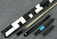 "Grand-Cues  58""   3/4 Piece Plain Black Ebony Snooker/Pool Cue Set@GH01"