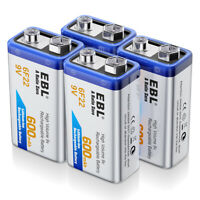 EBL 4Packs 9V Li-ion Rechargeable Battery (Model 6F22 9-Volt 600mAh Lithium-ion)