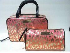 Victoria's Secret Hanging Travel Case/Cosmetic Bag Pink Orange Leopard Gold Set