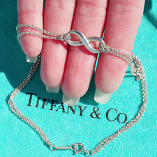 Tiffany & Co Plata Ley Infinito DOBLE CADENA COLGANTE COLLAR ESTILO NUEVO