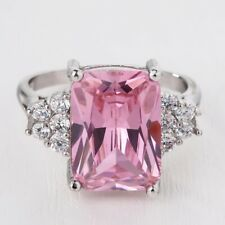 Women 925 Silver Pink Sapphire Gemstone Ring Wedding Engagement Party Size 6-10