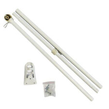 6ft Flag Pole 6' White Outdoor Steel Wall Hanging Flag Pole Ball Top w/Bracket