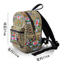 Hot National Vintage Canvas Embroidery Ethnic Backpack Women Handmade Flower