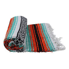 Genuine Mexican falsa western blanket in a orange & turquoise theme throw mat yo
