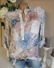 Camicia fischerhemd tunica camicetta OVERSIZE Crema floreale paillettes 36 38