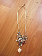 LOVELY BROWN BEADED METAL CHAIN SHELL PENDANT NECKLACE - 22CM TO 27CM LENGTH