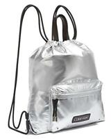 Calvin Klein Women's Silver Georgia Drawstring Closure Backpack MSRP $178