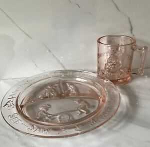 2 Pc VTG Tiara Glass 1980s Decorative Dishes Pink Glass Nursery Rhymes