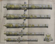 1765 Double-Page Diderot Engraving - Ship's Cannon - Five Decorative Calibres