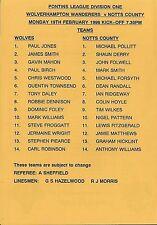 Football Programme>WOLVES RESERVES v NOTTS COUNTY RESERVES Feb 1996