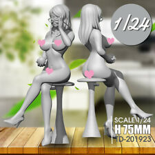 1/24 75mm Sexy Topless Girl On Chair Resin Epoxy Figure Model Kit Unassembled ∝