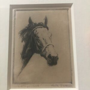 """Rita Swann Signed Etching Horse """"Stagehand"""" 3.15"""" x 4.25"""" Image 6.5 x 9.5 Framed"""