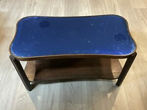 Antique Art Deco Blue Mirrored Glass Top Table