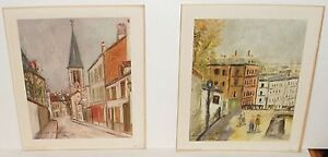 PAIR OF SMALL MAURICE UTRILLO COLOR LITHOGRAPH PRINTED IN USA