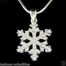 w Swarovski Crystal Cute SNOWFLAKE Snow Xmas bridal Wedding Pendant Necklace New