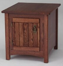 #931 Solid Oak Storage Mission End Table