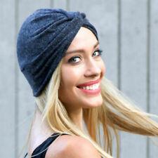 Femme Noué Turban Couleur Unie Coton Casquette Chapeau Bonnet Souple Casual