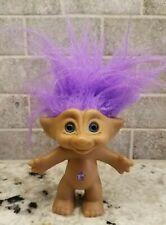 """Vtg Troll Ace Novelty Co. Purple Star Jewel belly, purple hair, 4.25"""" Blue eyes"""