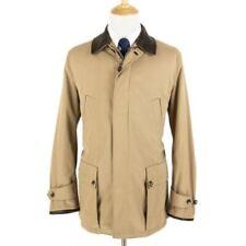 Ralph Lauren Purple Label Khaki Cotton Coat Cashmere Lined and Leather Trim