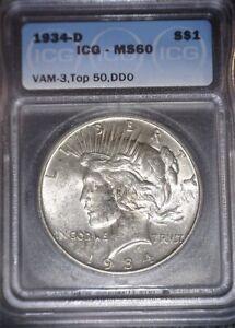 1934-D Peace Silver Dollar, ICG MS60 ,Key Date,VAM-3,Top50,DDO, Issue Free