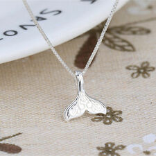 Silver Whale Tail Fish Nautical Charm Mermaid Tail Silver Necklace
