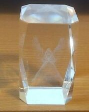 Laser etched cube w/ praying Angel Fairy Godmother glass art 3D paperweight