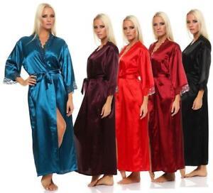 Damen langes Kimono Nachtmantel Seidenrobe Morgenmantel Nachtwäsche Dessous Sati