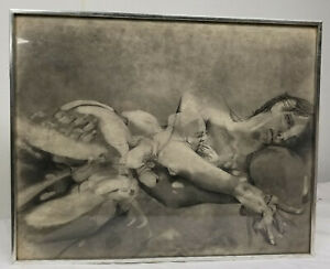 Antique Vintage Abstract Charcoal Pencil Drawing Nude Signed Audubon Annual