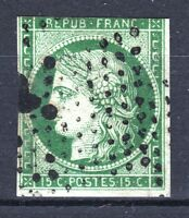 """FRANCE STAMP TIMBRE N° 2 """" TYPE CERES 15c VERT 1850 """" OBLITERE A VOIR  P776"""