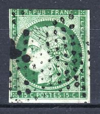 "FRANCE STAMP TIMBRE N° 2 "" TYPE CERES 15c VERT 1850 "" OBLITERE A VOIR  P776"