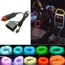 Car Party Neon LED Light Glow EL Wire String Strip Rope Tube Decor + Controller