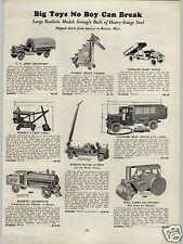 1930 PAPER AD Toy Keystone Locomotive Parkard Dump Truck US Mail Army Gilbert