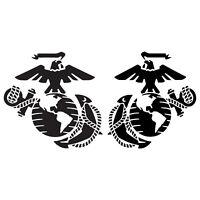 Set of 2 USMC MARINES Eagle Globe Anchor EGA Logo Vinyl Decal Sticker Reverse