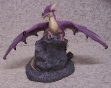 Figurine Dragon Purple on a Rock Medieval Fantasy Mythology New with gift box 6""