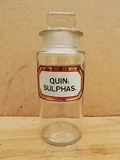 ANTIQUE SMALL APOTHECARY / CHEMIST / PHARMACY BOTTLE - QUIN: SULPHAS.