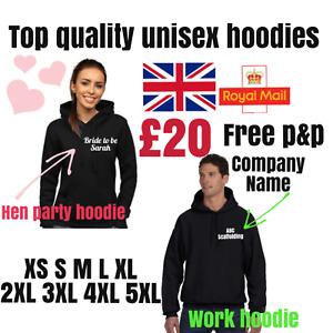 personalised hoodie custom printed unisex stag hen birthday logo work hoodies