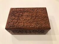 Vintage Hand Carved Wood Box Jewelry Trinket India