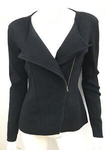 New! SABA Black Milano Crepe Knit Zip Jacket - sz 12