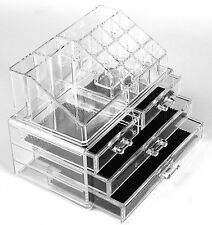 Acrylic Clear Make Up Drawers Brushes Polish Jewellery Case Display Storage Box