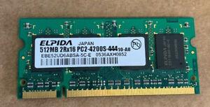 Elpida EBE52UD6ABSA-5C-E 512 MB 2RX16 PC2-4200S-444 Laptop Memory RAM