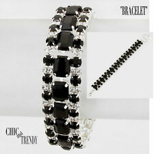 CLEARANCE BLACK & CLEAR CRYSTAL BRACELET CRYSTAL FORMAL WEDDING CHIC JEWELRY