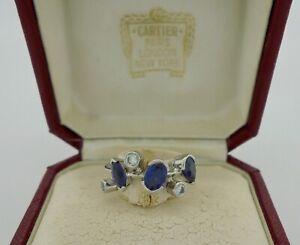 Authentic Cartier Meli Melo Blue Sapphire Diamond Platinum Ring Size 48 - RARE