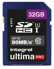 Integral Ultima Pro Class 10 32GB SDHC UHS-I U1 80MB/s Flash Memory Card - INSDH32G1080U1