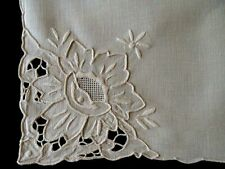 """12 AMAZING Vintage Cutwork Linen Napkins 19 1/2"""" Chee Foo Hand Embroidered"""
