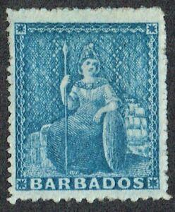 Barbados 1861 SG23 1d Blue Fine Mint Cat. £80.00