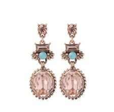 Beautiful Vintage Gold Pink Peach Green Crystal Party Statement Earrings