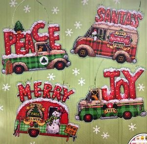 """DIMENSIONS """"Holiday Truck Ornaments"""" Set 4 Christmas Counted Cross Stitch Kit"""