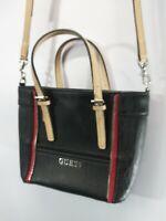 Guess  Blac/Red Zipper  Crossbody Bag Shoulder Bag Tote Purse Strap/less Clean